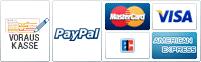 Einfach und schnell bezahlen via Vorkasse oder Paypal.