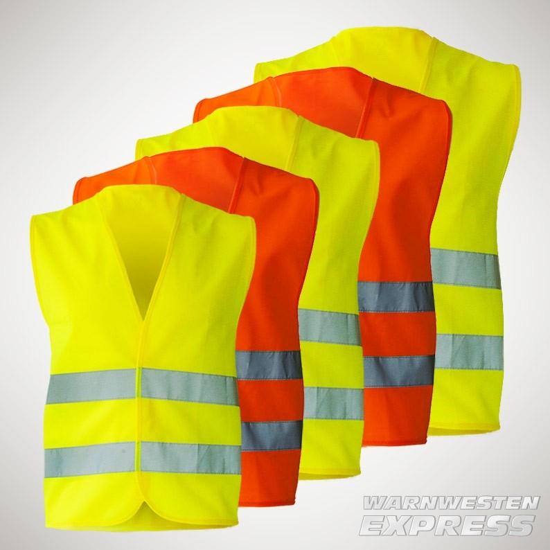 Premium Warnweste in 5 Größen - EN ISO 20471 - gelb und orange