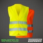 Öko Warnweste - 100% recycled Polyester - gelb und orange - unisize